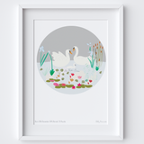 Personalised New Born Baby Girl or Boy Family Art Print
