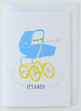 It's a Boy Blue Pram - New Born Card