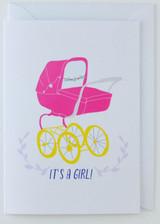 It's a Girl Pink Pram - New Born Card