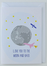 Moon and Back - Greeting Card