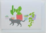 Cat and Cactus - Greeting Card