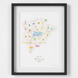 Illustrated hand drawn Map of Rutland art print by artist Holly Francesca. All prints can come framed or unframed.