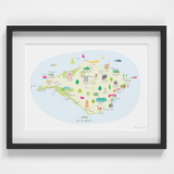 Illustrated hand drawn Map of Isle of Wight art print by artist Holly Francesca. All prints can come framed or unframed.