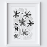 Flowers & Strips Drawing Print framed