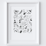 Geometric Monochrome Florals Drawing Framed Print