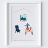 Gouache Mountain Window Scene Framed Print