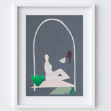 Minimal Statue of Woman on Rock Framed Print