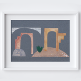 Minimalistic Marble Arches Framed Print