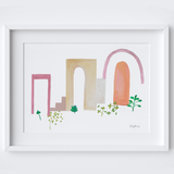 Sun-drenched Gouache Framed Print