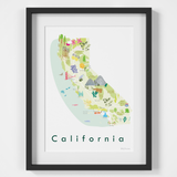 Illustrated painted Map of California, CA, USA framed print