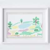 'View across Chartwell' Scene Art Print created from an original painting framed