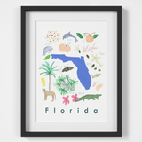 Illustrated Florida State Symbols Art Print Framed. Create with original paintings and drawings.