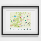 Illustrated Colorado State Map Art Print framed. Create with original paintings and drawings.