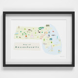 Illustrated Massachusetts State Map Art Print framed. Create with original paintings and drawings.