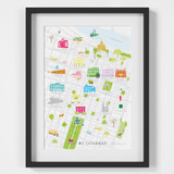 Illustrated hand drawn Map of Savannah in Georgia art print by artist Holly Francesca.