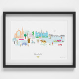 Norfolk County Skyline Landscape Art Framed Print by artist Holly Francesca