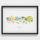 Yorkshire County Skyline Landscape Art Framed Print by artist Holly Francesca