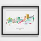 Illustrated hand drawn Newcastle Skyline Cityscape art print by artist Holly Francesca.