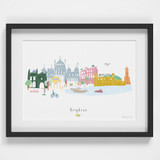 Brighton Skyline Cityscape Art Print by artist Holly Francesca