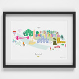 Hand drawn Bristol Skyline Cityscape Art Print by artist Holly Francesca