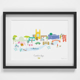Hand drawn Cambridge Skyline Cityscape Art Print by artist Holly Francesca