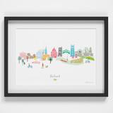 Hand Drawn Oxford Skyline Cityscape Art Print by artist Holly Francesca
