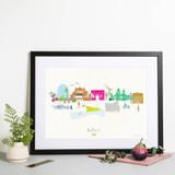 Hand Drawn Belfast Skyline Cityscape Art Print by artist Holly Francesca
