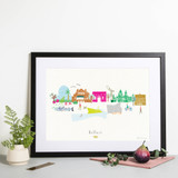 Hand Drawn Belfast Skyline Cityscape Art Print by artist Holly Francesca