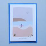 Birthday Vibes Surfing Beach Card