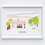 Illustrated hand drawn Buckingham Palace, London scene art print by artist Holly Francesca.