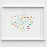 Illustrated hand drawn Map of the London Boroughs art print by artist Holly Francesca.