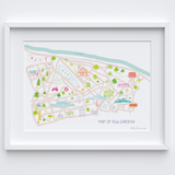 Illustrated hand drawn Map of Kew Gardens art print by artist Holly Francesca.