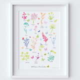 Illustrated hand drawn Wildflowers of Kew Gardens art print by artist Holly Francesca.