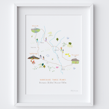 Yorkshire Three Peaks Route Map Art Print