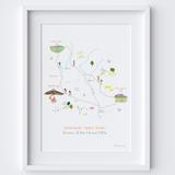 Yorkshire Three Peaks Route Map Art Print