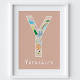 Y is for Yorkshire Typographical Letter Art Print