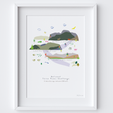 UK National Three Peaks Route Map Art Print