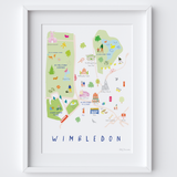 Map of Wimbledon Village Park Common Art Print