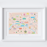 Personalised Illustrated Paris Map Art Print