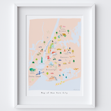 Personalised Illustrated New York City Map Art Print
