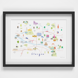 Map of Glasgow Art Print (Various Sizes)