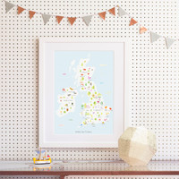 British Isles Produce Map framed Art Print illustration by artist Holly Francesca