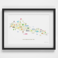 Map of the South Downs National Park Art Print