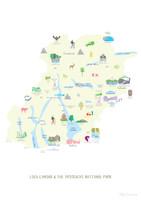 Map of Loch Lomond & The Trossachs National Park Art Print