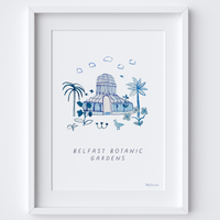 This travel poster of the Palm House, Belfast Botanic Gardens was created from an original drawing & blue ink painting by artist Holly Francesca.