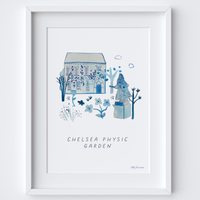 This travel poster of the House & Statue at Chelsea Physic Garden was created from an original drawing & blue ink painting by artist Holly Francesca.