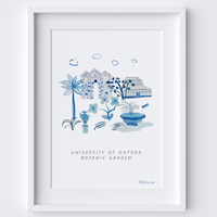 This travel poster of the University of Oxford Botanic Garden was created from an original drawing & blue ink painting by artist Holly Francesca.