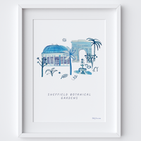 This travel poster of the Sheffield Botanical Gardens was created from an original drawing & blue ink painting by artist Holly Francesca.