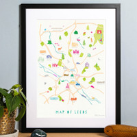 Illustrated hand drawn Map of Leeds art print by artist Holly Francesca.