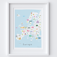 Hand-drawn Illustrated Map of Europe Art Print